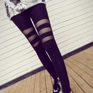 เลกกิ้ง ขายาวสีดำ แต่งซีทรู ช่วงต้นขา เก๋มากๆ ผ้านุ่มยืดได้เยอะ พร้อมส่งจ้า