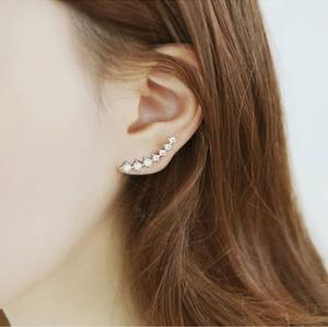 ตุ้มหู,ต่างหูชุบทองคำขาว18Kแถวคริสตัล