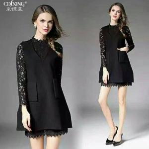 Dress3722 งานนำเข้าแบรนด์เกาหลี เดรส 2 ชิ้น(เดรสลูกไม้+เอี๊ยม)แยกชิ้น ชุดเดรสแขนยาวสีดำผ้าลูกไม้เนื้อหนาสวย+เอี๊ยมตัวนอกผ้าหนาเนื้อดีสีดำ