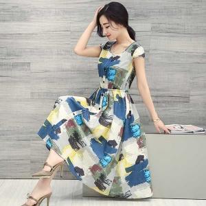 Dress3800 งานนำเข้าสไตล์เกาหลี Maxi Dress ชุดเดรสยาวทรงสวยแขนล้ำ เอวสม็อค แต่งกระดุมหน้า ผ้าลินินเนื้อหนาสวยลายกราฟฟิค