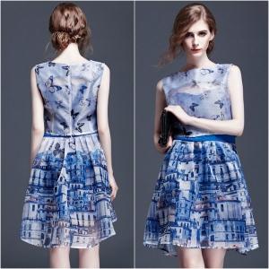 Dress3991 ชุด 2 ชิ้น(เสื้อ+เดรส) เสื้อแขนกุดซิปหลัง+ชุดเดรสสายเดี่ยว ผ้าไหมแก้ว Organza ลายกราฟฟิคโทนสีฟ้า มีซิปข้าง งานน่ารักแบบเก๋ไม่ซ้ำใคร