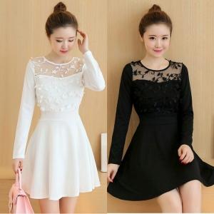 Dress3749 งานนำเข้าสไตล์เกาหลี ชุดเดรสแขนยาวทรงสวยผ้าหนาสวยเนื้อดีมีน้ำหนัก อกผ้าแก้วนิ่มปักลายดอกไม้งานสวยหรู มี 2 สี ขาว ดำ
