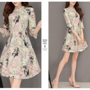 Dress3812 งานนำเข้าสไตล์เกาหลี เดรสคอจีนแขนยาวทรงสวย ซิปหลัง งานตัดเย็บอย่างดี บุซับในทั้งชุด ผ้าหนาเนื้อดีลายดอกไม้ รุ่นนี้ผ้าหนาสวยเกรดพรีเมี่ยมดูหรูดูแพงแนะนำเลยจ้าไม่ผิดหวัง