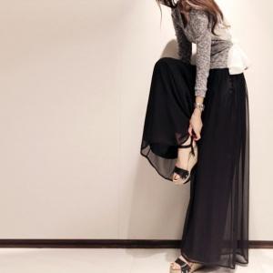กางเกงทรงสวย แต่งผ้าชีฟอง สีดำ ดูดีไฮโซ เก๋สุดๆ พร้อมส่ง