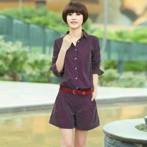 Set_bp1376 งานนำเข้าสไตล์เกาหลี ชุดเซ็ท 2 ชิ้น(เสื้อ+กางเกง)แยกชิ้น เสื้อคอปกเชิ้ตกระดุมหน้าแขนยาว+กางเกงขาสั้นซิปหน้ากระเป๋าข้าง ผ้าคอตตอนเนื้อดีลายจุดสีเลือดหมู