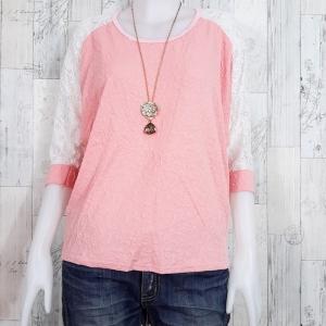 LOT SALE!! Blouse3392 เสื้อแฟชั่นไซส์ใหญ่ ผ้าหนังไก่พิมพ์ลายนูนดอกไม้ แขนสามส่วนผ้าลูกไม้ สีชมพู