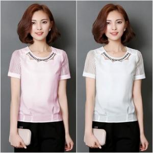SALE!! Blouse3516 เสื้อชีฟองสีพื้นคอแต่งเพชร งานน่ารักสวยหรูดูแพง ผ้าเนื้อดีนุ่มใส่สบาย มี 2 สี ขาว, ชมพู
