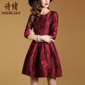 Dress3828-Size-XXL ชุดเดรสทรงสวยซิปหลังแขนสี่ส่วน งานสวยหรูบุซับในอย่างดีทั้งชุด ผ้าเนื้อดีหนาสวยพิมพ์ลายดอกไม้บนเนื้อผ้าสีไวน์แดง
