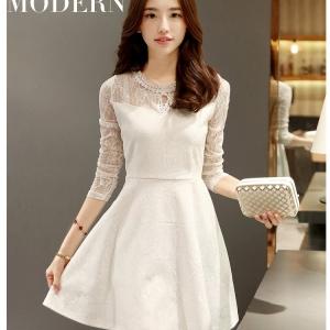 Dress3636 งานนำเข้าสไตล์เกาหลี ชุดเดรสลูกไม้ออกงานทรงสวยสีขาว แขนยาวสี่ส่วน ซิปหลัง ผ้าลูกไม้อัดอย่างดีอยู่ทรงสวย(ผ้าสวยหรูงานดีมาก)