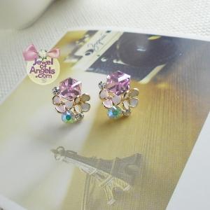 ต่างหู,ตุ้มหูแฟชั่นสไตล์เกาหลีรูปดอกไม้แต่งคริสตัลสีชมพู