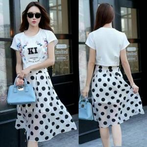 **สินค้าหมด Skirt326 กระโปรงยาวลายจุดใหญ่สีพื้นขาว ซิปข้าง มีซับใน ผ้าไหมแก้วเนื้อดีเรียบสวย งานน่ารักแมทช์กับเสื้อได้หลายแบบ