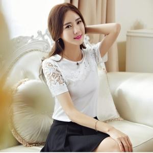 Blouse3552 เสื้อแฟชั่นเกาหลีแขนลูกไม้ผ้าเนื้อดีหนาสวยสีพื้นขาวครีม งานสวยน่ารัก แมทช์กับกระโปรงได้หลายแบบ