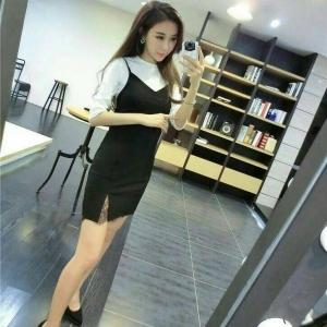 Set_bs1378 งานนำเข้าสไตล์เกาหลี ชุด 2 ชิ้น(เสื้อ+เดรส)แยกชิ้น เสื้อยืดแขนยาวผ้าร่องขนาดฟรีไซส์+ชุดเดรสสายเดี่ยวทรงเข้ารูปชายลูกไม้สีพื้นดำ Size S