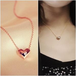 สร้อยคอชุบทองพิงค์โกลด์18Kจี้รูปหัวใจ