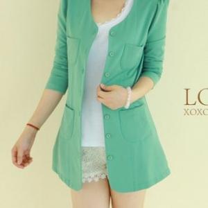 เสื้อคลุมตัวยาว พร้อมส่ง สีเขียวอมฟ้า สไตล์เกาหลี เก๋ๆ
