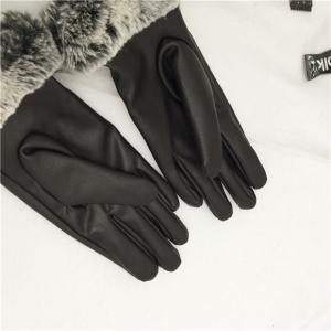 ถุงมือหนังแต่งขนเฟอร์นุมนิ่ม ด้านในบุผ้าสำลีอุ่นนน