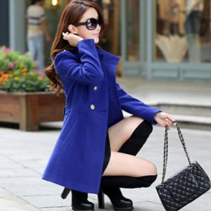 เสื้อโค้ทตัวยาว ทรงสวย ใส่คลุมเป็นเดรสสั้นได้เลย สีน้ำเงิน พร้อมส่งจ้า
