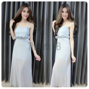 พร้อมส่ง - สีขาว Maxi Dress เอวจับจีบทรงเข้ารูปเป๊ะๆ กระโปรงหรูๆ ใช้ผ้าชีฟองอย่างดี ดูดีมีระดับมีซิปหลัง สาวๆต้องรีบคว้าจ้า