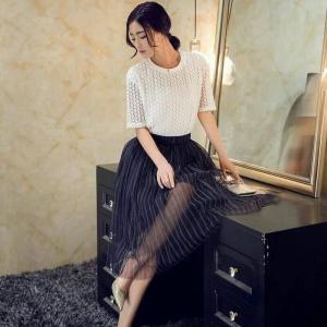 Set_bs1274 งานนำเข้าสไตล์เกาหลี ชุด 2 ชิ้น(เสื้อ+กระโปรง)แยกชิ้น เสื้อลูกไม้เนื้อดีสีขาว+กระโปรงเอวสม็อคผ้าซีทรูมีซับในสีดำ