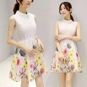 Dress3803 งานนำเข้าสไตล์เกาหลี เดรสคอปกผ้าแก้วผสมลูกไม้ ซิปหลังใส่ง่าย มีซับในทั้งชุด ผ้าชีฟองลายเชิงดอกไม้โทนสีชมพู