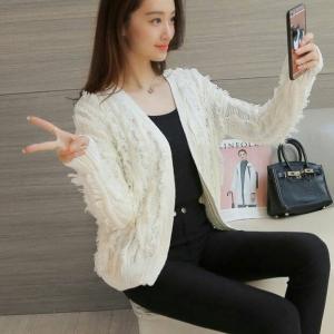 Blouse3469 งานนำเข้าแบรนด์เกาหลี เสื้อคลุมไหมพรมแขนยาวสีขาวครีม งานดีผ้านุ่มมากใส่สบายสุดๆ ขนาด Free Size