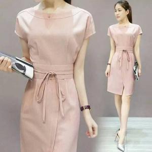 Dress3716 งานนำเข้าแบรนด์เกาหลี ชุดเดรสทรงสวยผูกโบว์ช่วงเอว ผ้าหนาเนื้อดีสีพื้นชมพูกะปิ ซิปข้างใส่ง่าย ทรงเรียบๆ ดูดี ใส่ทำงานได้