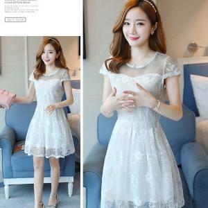 Dress4072 เดรสลูกไม้ลายสวยสีขาวสุดคลาสสิค มีซิปหลังใส่ง่าย งานดีทรงดีใส่สวย เรียบแต่หรู ผ้าดีเหมือนราคาหลักพัน ใส่ออกงานได้สบาย