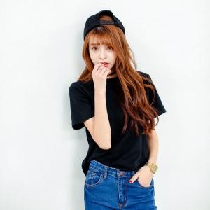 blouse3422-3424 งานนำเข้า Black T-shirt เสื้อยืดสีดำผ้าคอตตอนเนื้อหนานุ่ม (Cotton 100%) คอกลม แขนสั้น มี 3 Size M L XL