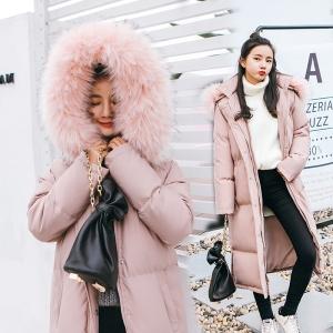 เสื้อกันหนาวฮู้ดดี้ ทรงยาว แต่งเฟอร์หนาฟู สีชมพูหม่น งานเกรดดีเหมือนแบบ อุ่นมาก หิมะก็เอาอยู่ (ถอดขนถอดฮู้ดได้)