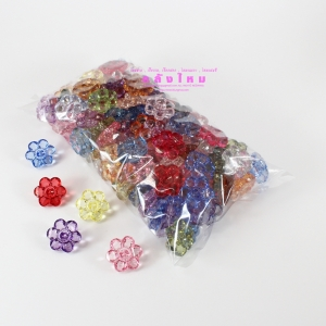กระดุมดอกไม้คริสตัล คละสี (p100)