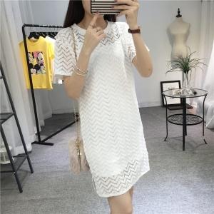 Dress4114 ชุดเดรสลูกไม้ลายสวยสีพื้นขาว มีสายเดี่ยวตัวใน ผ้าลูกไม้คอตตอนเกรดพรีเมียมเนื้อดีหนาสวยอยู่ทรง งานดีทรงดีใส่สวย