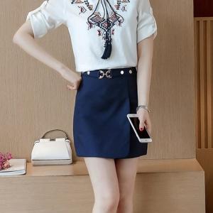 Skirt309-NavyBlue กระโปรงแฟชั่นเกาหลี กระโปรงป้ายซิปหลังผ้าเนื้อหนาสวยสีพื้นกรมแต่งหัวเข็มขัด งานน่ารักผ้านุ่มใส่สบาย แมทช์กับเสื้อได้หลายแบบ