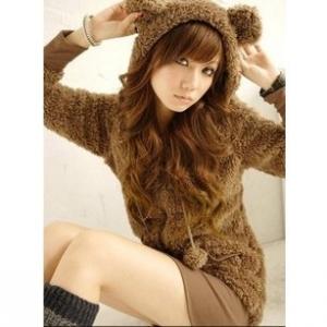พร้อมส่ง - สีน้ำตาล เสื้อกันหนาวฮู้ดดี้ แฟชั่นเกาหลี หมี น่ารัก