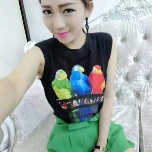 Set_bt1151 งานนำเข้าสไตล์เกาหลี ชุดเซ็ท 2 ชิ้น(เสื้อ+กางเกง) เสื้อแขนกุดผ้านิ่มสีดำสกรีนลายนก+กางเกงขาสั้นเอวจับจีบผ้าเนื้อดีสีเขียวมีสายผูกเอว