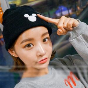 หมวกไหมพรม มิกกี้เมาส์ ทรงยอดฮิต น่ารัก เกาหลีสุดๆ พร้อมส่งเฉพาะสีดำนะคะ
