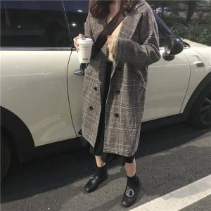 Korea Minimal Coat เสื้อคลุมกันหนาว ตัวยาว สไตล์เกาหลี ผ้าทอลายสก๊อต บุซับในกันลม
