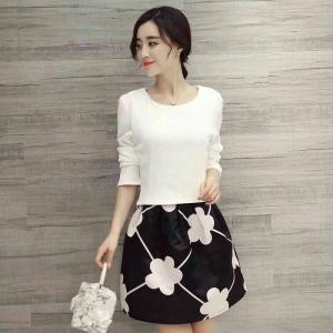 Set_bs1301 งานนำเข้าแบรนด์เกาหลี ชุด 2 ชิ้น(เสื้อ+กระโปรง)แยกชิ้น เสื้อแขนยาวผ้าหนาเนื้อดีสีขาว+กระโปรงลายดอกไม้สีดำมีซับใน