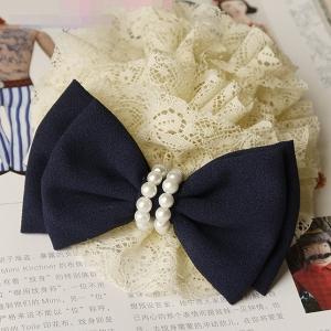 โดนัทรัดผมโบว์สไตล์ญี่ปุ่นโบว์สีน้ำเงินผ้าลูกไม้แต่งมุก