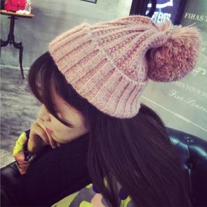 หมวกไหมพรม ทรงยอดฮิต สีชมพู น่ารัก เกาหลีสุดๆ