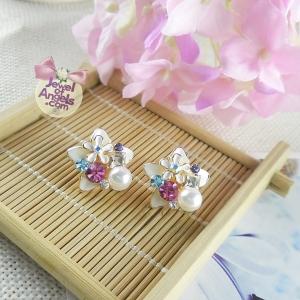ต่างหู,ตุ้มหูแฟชั่นสไตล์เกาหลีดอกไม้สีขาวแต่งคริสตัลและมุก