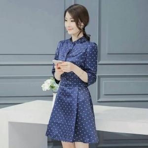 Dress3763 งานนำเข้าแบรนด์เกาหลี ชุดเดรสทรงสวยแขนยาวสี่ส่วนสีน้ำเงิน กระดุมหน้า ซิปข้าง ผ้าสวยเนื้อดีมีน้ำหนัก