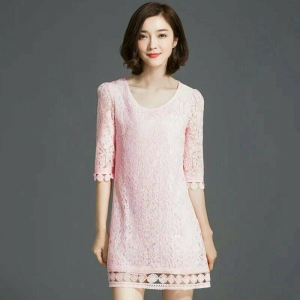 Dress3686 งานนำเข้าสไตล์เกาหลี Big Size Dress ชุดเดรสลูกไม้ไซส์ใหญ่ แขนสี่ส่วน มีซับในอย่างดี ชายแต่งลูกไม้ฉลุงานสวยหรูใส่ออกงานได้เลย สีชมพู
