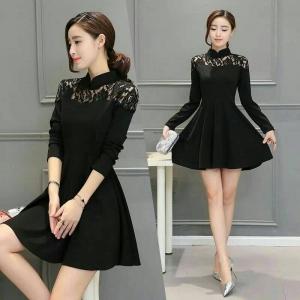 Dress3684 งานนำเข้าสไตล์เกาหลี ชุดเดรสทรงสวย แขนยาว อกลูกไม้ ซิปหลัง ผ้าหนาเนื้อดีมีน้ำหนักทิ้งตัวสวย สีพื้นดำ