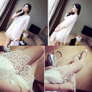 Dress3748 งานนำเข้าแบรนด์เกาหลี ชุดเดรสลูกไม้ฉลุสีขาว แขนยาวสี่ส่วน มีซับในอย่างดีทั้งชุด
