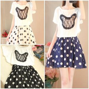Dress3779 งานนำเข้าแบรนด์เกาหลี ชุด 2 ชิ้น(เสื้อ+เดรส)แยกชิ้น เสื้อยืดสีขาวแต่งลูกไม้ดำ+เดรสสายเดี่ยวตัวในเอวสม็อคผ้าชีฟองลายจุด มีซับในทั้งชุด มี 3 สี ดำ ขาว กรม