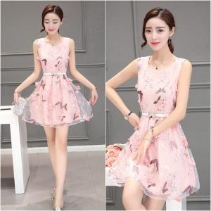 Dress3886 งานนำเข้าสไตล์เกาหลี 3D Floral Printed Dresses ชุดเดรสงานสวยหรูดีไซน์สามมิติ ผ้าไหมแก้วพิมพ์ลายผีเสื้อประดับดอกไม้โทนสีชมพู งานตัดเย็บอย่างดี มีซับในทั้งชุด งานดีสวยหรูใส่ออกงานได้เลย