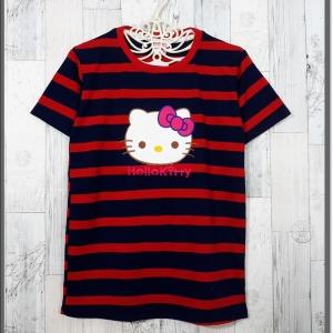 blouse3321 เสื้อยืดแฟชั่น แต่งหน้าคิตตี้ ผ้าโปโลยืดเนื้อนิ่มลายริ้วใหญ่ สีกรมแดง