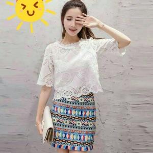 Set_bs1363 งานนำเข้าสไตล์เกาหลี ชุด 2 ชิ้น(เสื้อ+กระโปรง)แยกชิ้น เสื้อลูกไม้เนื้อหนาสวยสีขาว+กระโปรงทรงเข้ารูปลายกราฟฟิคชายแต่งพู่ งานดีผ้าสวยแบบน่ารักมาก แนะนำเลยจ้า
