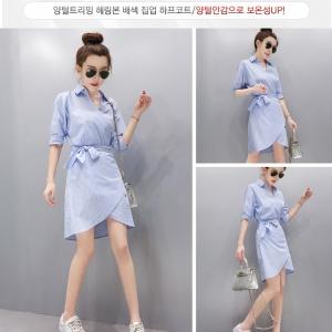 Dress3780 งานนำเข้าแบรนด์เกาหลี ชุดเดรสคอปกเชิ้ตคอวีป้ายผูกโบว์ช่วงเอวปรับระดับได้ แขนสามส่วน ผ้าคอตตอนเนื้อดีเรียบสวยลายริ้วสีฟ้าขาว