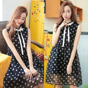 Dress3715 งานนำเข้าสไตล์เกาหลี ชุดเดรสน่ารักคอระบายโบว์ลายจุดสีดำ ผ้าไหมแก้ว Organza เนื้อหนาสวย มีซับในอย่างดีทั้งชุด งานสวยใส่ง่ายน่ารักมาก